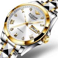 Дизайнерские роскоши бренда часы швейцарские Kassaw мужчины автоматические механические японские движения сапфира Щиздный сталь классический ES