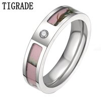 Wedding Rings TIGRADE Women's Pink Real Forest Tree Camo Titanium Ring With Small Cz Stone Size 5-10 Aneis Feminino Women Jewelry Gift