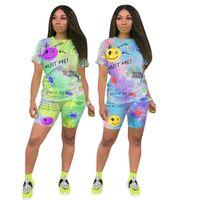 Women Tracksuits 2 piece set summer clothes skinny tie dye print letter running t-shirt shorts sweatsuit tee top capris sports sets pullover leggings bodysuit 01437
