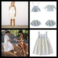 Lulu Girls Top Short Skirt Set Spring Summer Blue Flower Camisole Puff Sleeve Dress Girl Blouse Suit