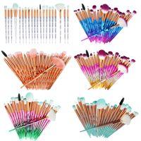 20Pcs set kit Diamond Transparent Makeup Brush Set Powder Foundation Blush Brushes Blending Eye shadow Lip Cosmetic Beauty Pincel Maquiagem