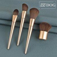 Makeup Щетки ZZDOG 1 ШТ. Высококачественные косметические инструменты Золотой пушистый порошок Фонда Blush Beauty Brush Champagne деревянная ручка