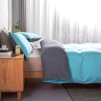 Bedding Sets Pure Hue Duvet Cover Bed Linen Quilt Comforter Case Pillow Covers Set King Queen 220x240cm Sky Blue Home Textiles
