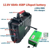 GTK 12V 60Ah rechargeable 4S8P 32700 LiFePo4 battery pack with smart bms for fish boat power supply + 10A charger