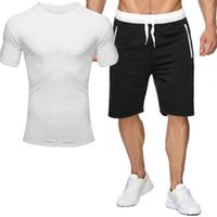 Plus size 2XL men shorts Two piece sets casual Tracksuits solid color outfits sports jogger suit sleeveless t shirt+short pants 681