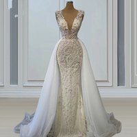 Sexy Deep V Neck Mermaid Wedding Gowns 2021 Overskirt Train Plus Size Bridal Party Dresses Robe De Marriage