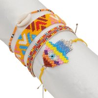 Encanto brazaletes go2boho hamsa mano malvado joyería de ojo colorido miyuki beads masshell boho joyería trenzado tassel hecho a mano pulsera