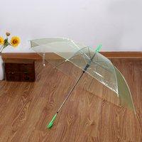 150PCS Transparent Umbrellas Clear PVC Umbrellas Long Handle 6 Colors DH203