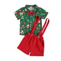1-4Y Moda Çocuk Erkek Giysileri Setleri Noel Yürüyor Çocuk Boys Beyefendi Bowtie T-Shirt Tops + Askı Şort Noel Kıyafetleri
