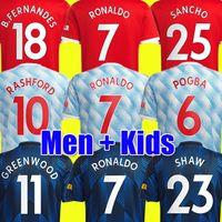 Maillots de football Manchester United 21 22 SANCHO Fans Player version MAN FERNANDES LINGARD POGBA RASHFORD maillot de football UTD 2021 2022 hommes + kit enfants ensembles