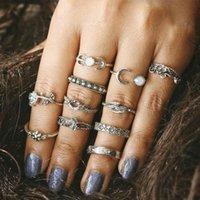 밴드 링 다이아몬드 로즈 상감과 잎 조각 된 토템 1 조합 반지 세트