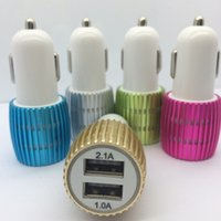 Mini Metal Double Dual USB Car Chargers With Blue LED Light Charging Sunflower Aluminum Alloy PVC Charger 15W
