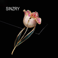 Pins, Brooches SINZRY Elegant Bridal Jewelry Accessory Cubic Zircon Micro Paved Epoxy Rose Flower Pin Lady Dressing