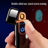 Yenilik Elektrikli Dokunmatik Sensör Serin Çakmak Parmak İzi Sensörü USB Şarj Edilebilir Rüzgar Geçirmez Çakmak Sigara Aksesuarları 12 Stilleri
