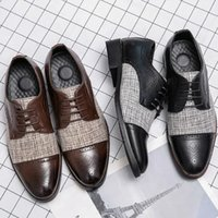 British Business Dress Shoes PU Leather Stitching Plaid Lace Up Low Heel Round Head Men Block Carved Fashion Hairdresser Wedding Suit DH111