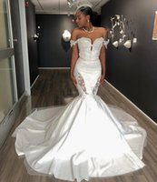 African Style White Mermaid Long Wedding Gowns 2021 Designed Lace Top Sweetheart Neck With Strapes Black Girl Bridal Dresses