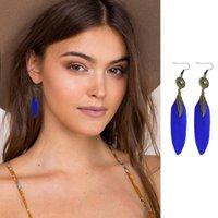 Dangle & Chandelier Double Fair Bohemia Feather Piercing Earrings For Women Retro Bronze Hyperbole Earing Fashion Jewelry KA289