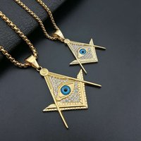 Hip Hop Iced Out Bling Masonic Eye Pendant Necklace Chain Gold Color Stainless Steel Freemason Mason Jewelry For Men Women