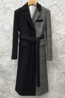 New Korean loose lace up Plaid sewn wool coat in autumn and winter 2021