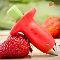 Strawberry STEM Hoja Hojas de Huller Removedor Herramientas Remoción Fruta Corer Tool Cocina Gadgets Cutter Color Rojo DHB8905