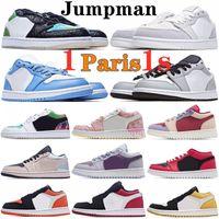 Jumpman Jorden 1 إمرأة رجالي 1S أحذية كرة السلة خفيفة الدخان الرمادي جامعة الذهب القطب الشمالي لكمة كورت باريس مدربين سبج الرياضة أحذية رياضية 36-45