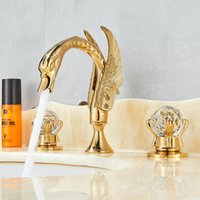 Luxury Gold 3Pcs Washbasi Sink Tap Bathroom Faucet 2 Handles...