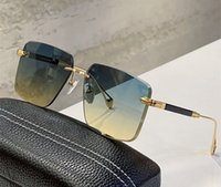 Fashion designer men women The wean sunglasses metal square shape Rimless glasses Lens crystal cutting design Anti-Ultraviolet protection come with box