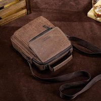 Shoulder Bags Men's Crossbody Bag Vintage PU Leather Solid Color Messenger For Male Casual Small Zippers Handbag