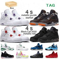 With Box 4 4s men Basketball Shoes starfish Black Cat metallic purple bred fire red singles cactus jack mens sneakers trainers