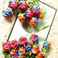 متعدد الألوان روز ديكور روز فرع مجفف للغاية محاكاة مجففة الرجعية الخريف اللون الجاف