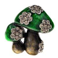 Pins, Brooches CINDY XIANG Mushroom Enamel Pins Brooch Cute Plant Vegetable Rhinestone Bag Lapel Pin Coat Accessories Friends Gifts