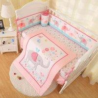 Neue Ankunft 7 stücke Neugeborene Krippe Bettwäsche Set Elefant Baby Bettwäsche Set Für Mädchen Baby Bett Sets Cuna Quilt Bumper Bett Rock montiert
