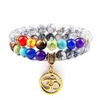 Frisado, fios 2 pçs / set 7 chakra Aum pingente pulseira 8mm resistido pedra linha preta linha natural grânulos pulseiras jóias mulheres yoga pulso de cura