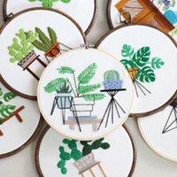 Plante de broderie de bricolage moderne Monstera Cactus Bricolage Travail de croix Kit Coton Broderie Peinture Cerceau Hoop Accueil Décor