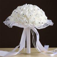 장미 인공 신부 꽃 신부 꽃다발 결혼식 꽃다발 크리스탈 lvory 실크 리본 꽃 꽃다발을 들고 여러 가지 빛깔의