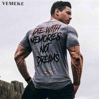 YEMEKE мужчины с коротким рукавом хлопчатобумажная футболка летние повседневные моды спортивные залы фитнес бодибилдинг футболка мужские тонкие тройники топы одежда 210716