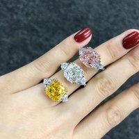 クラスターリング高級フラワーカット5ct Topaz Diamond Ring 100%オリジナル925スターリングシルバーの婚約の結婚式のバンドFine Jewelry