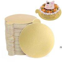 100 pz / set round mousse torta tavole di carta oro cupcake dessert displays vassoio matrimonio torta di compleanno pasticceria strumenti decorativi HWE7395