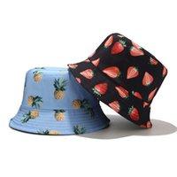 Balıkçı Kap Unisex Yaz Iki Taraf Geri Dönüşümlü Kova Şapka Bohemian Ananas Çilek Meyveleri Baskı Katlanabilir Güneş Şapka
