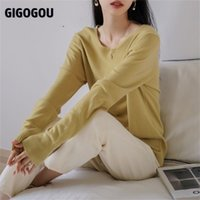 GIGOGOU y2k Cashmere Sweater Wool Pullover Top Solid V Neck Female Jumper Casual Loose Oversized Winter Christmas Sweater 210914