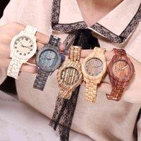 Tasarımcı Lüks Marka Saatler Varış Ahşap Tahıl Kadın Kuvars Basit Stil Numarası Arama Bayanlar Günlük Elbise Bilek Saati