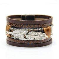 2021 Feather Leather Woven Women's Multi-layer Bracelet Personalized Leaf Magnetic Clasp Bracelet