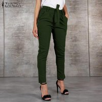 Women's Pants & Capris 2021 Fashion Long ZANZEA Ladies Casual Solid Female Elegant High Waist Pockets Trousers Pantalones Mujer 5XL