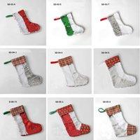 Sublimation Blank Christmas Sequin Stocking Gift Bags Heat Transfer Socks Santa Claus Decorations Xmas Tree Pendant Free DHL SHIP HH21-456