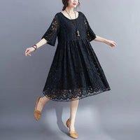 더 큰 크기 봄 여름 여성용 착용 디자이너 캐주얼 드레스, 고품질 라운드 목, 거리 패션, 닫기 피팅 및 편안한 레이디의 옷