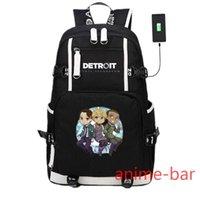 Gra plecaka Detroit staje się ludzkimi TK800 USB Ładowanie Ramię Podróży Torby Laptopa Kids Schoun Bookbag Mochila Prezent