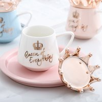 Creative Crown Ceramic Mug Pink Cute Coffee Mug Nordic Milk Cup with Spoon Lids Coffee Cup Water Mugs Holiday Souvenirs Gift 113 V2
