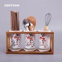 Хранение бутылки JARS Японский стиль полые керамические палочки для еды ручная роспись сливы цветок роспись вилка ложка нож держатель арт цилиндр табл.