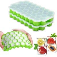 Favo de mel cubo de gelo bandejas com peitas removíveis sílica gel gel fogão coolers cubos molde BPA livre caseiro de silicone modelo diy iced owf8869