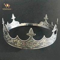 Eseres Kral Taç Adam Tam Yuvarlak Ayarlanabilir Antik Gümüş Tiara Düğün Saç Aksesuarları 210203